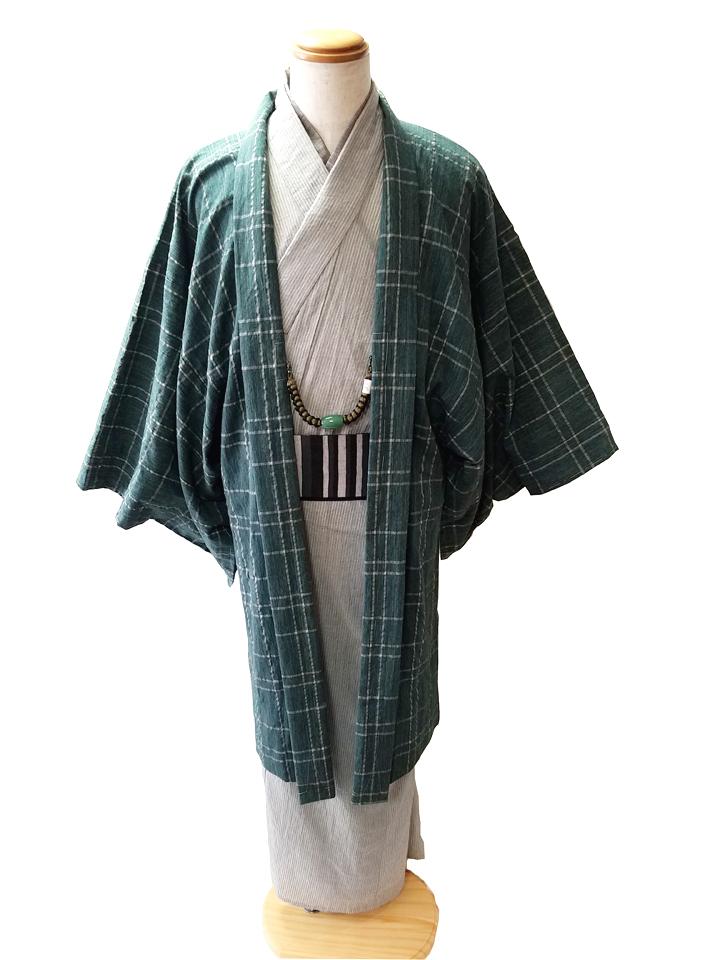 春夏木綿薄羽織「水格子」