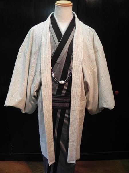 綿麻着物「棒縞」(匠)単羽織コーディネート