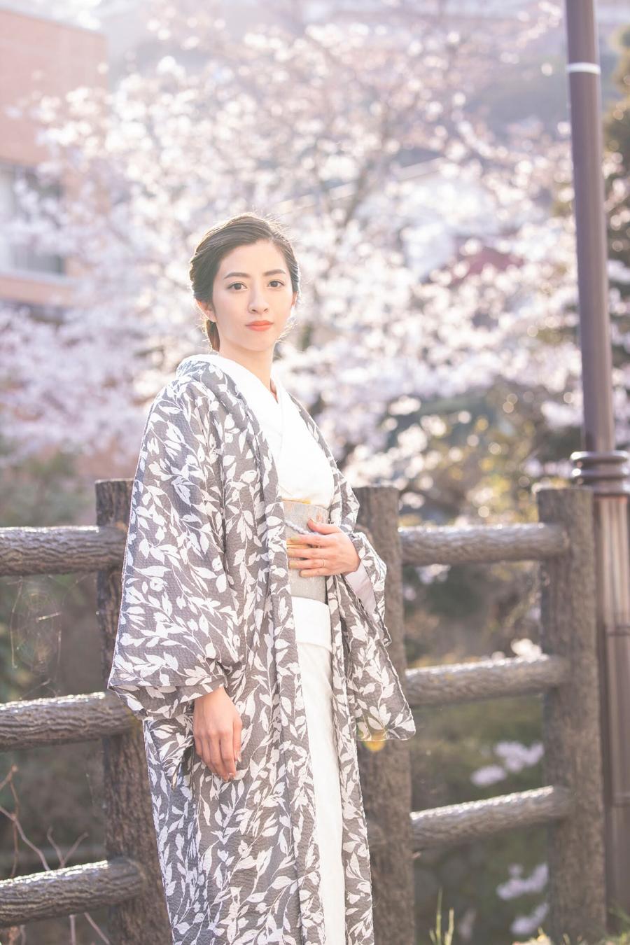 花刺繍木綿着物