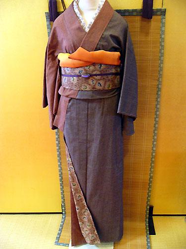 古布紬木綿着物(袷/2色合せ)
