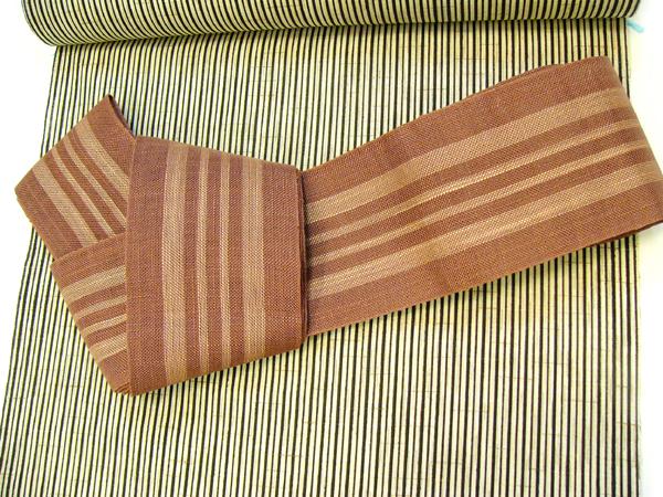 麻角帯(薄茶/縞)