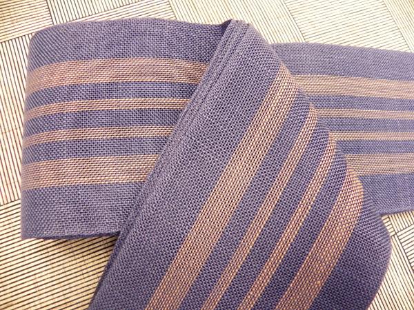 麻角帯「薄藍色/茶縞」