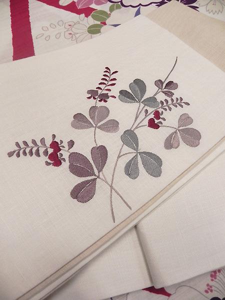 撫松庵麻刺繍半巾帯「白」