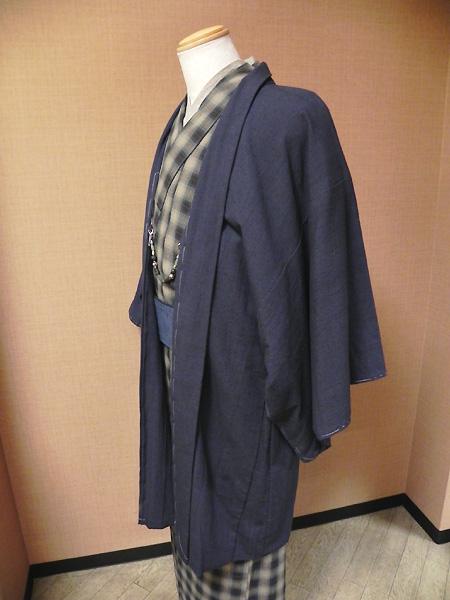 カラフルチェックの木綿着物と古布紬木綿羽織