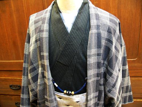 CE木綿羽織「刺し子格子/No403」