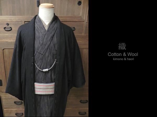 綿ウール羽織「太番手スラブ糸/ピケドビー織」
