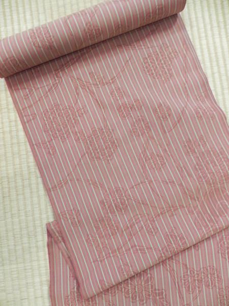 [EDO DESIGN]木綿着物「花柄縞/赤紅」