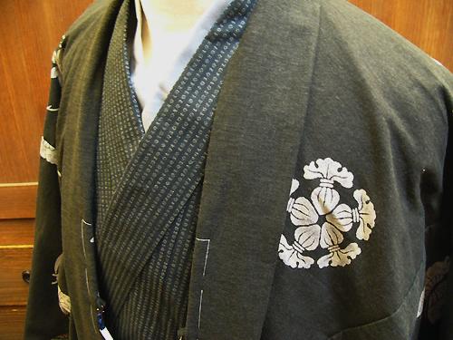 手捺染木綿羽織「縁起紋づくし/No3138_41」