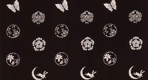 手捺染木綿「縁起紋づくし柄パターン」