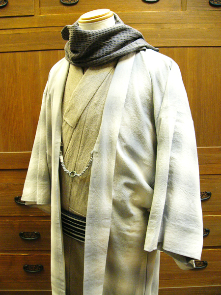先染木綿「ぼかし縞格子(霞色)/単羽織」