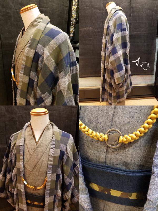 ふくら織木綿羽織「PileCheck」