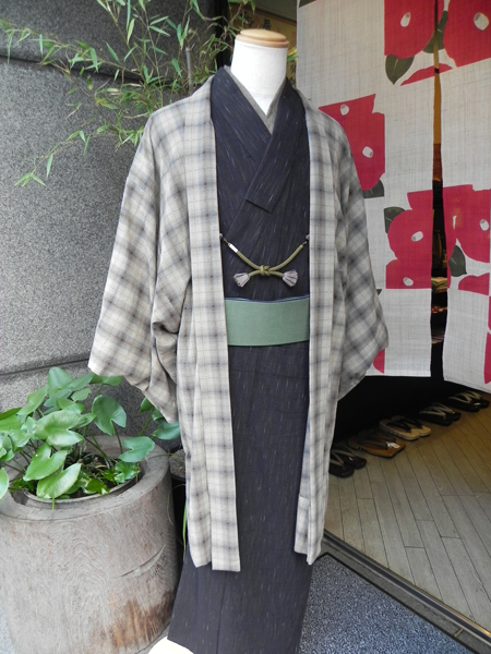 (先染木綿)窓枠格子の木綿羽織