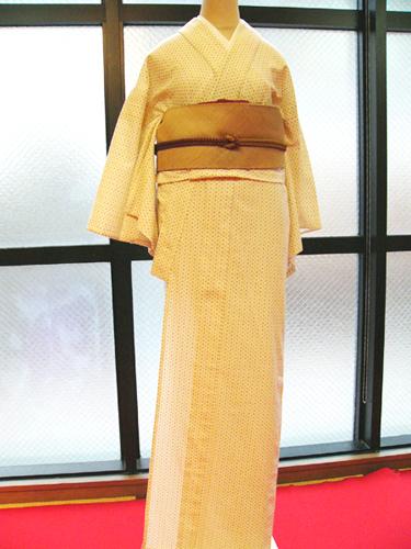 手捺染木綿「井匠絣木綿着物/生成」No3130