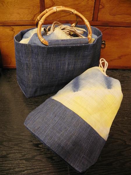 板締めトート&板締め巾着巾(青)