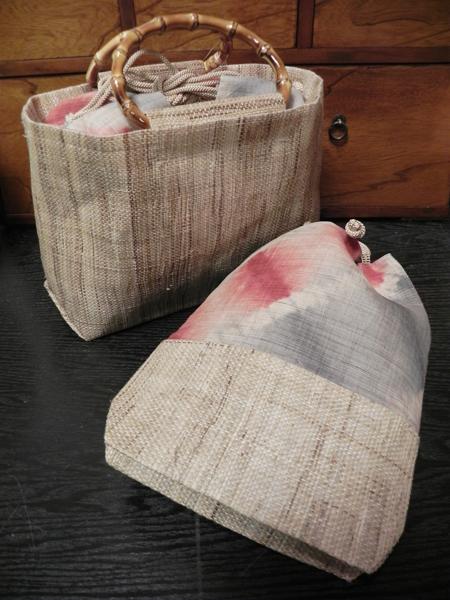 板締めトート&板締め巾着巾(赤)