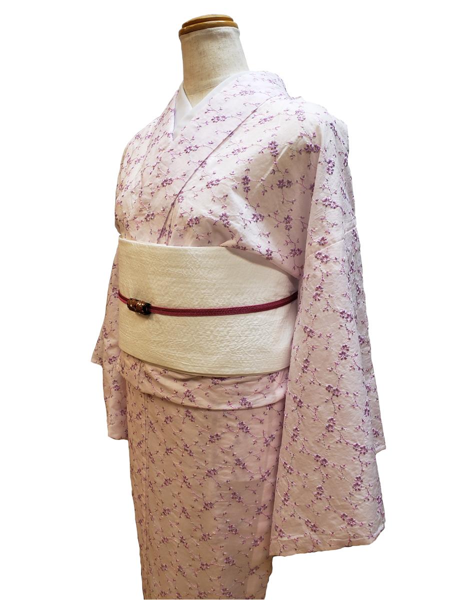 木綿着物「花刺繍」