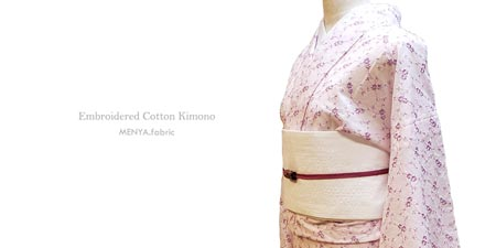 花刺繍木綿着物(単仕立て付き※羽織仕立て対応)