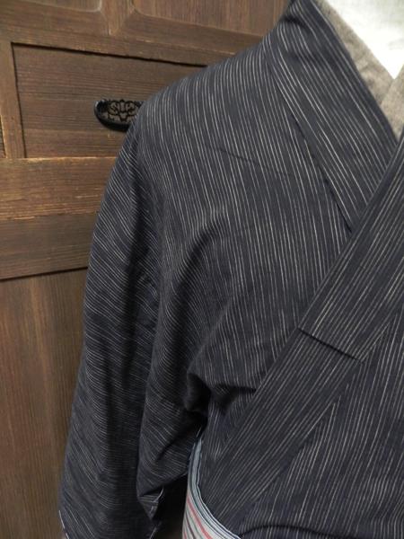 木綿絣着物「刷毛目縞」
