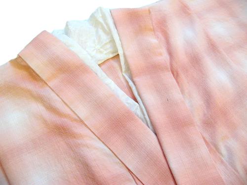先染木綿着物「ぼかし縞格子/単仕立て」