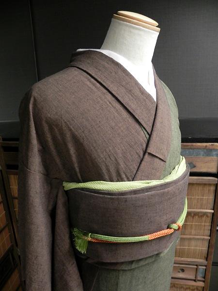 古布紬木綿着物「2色合わせ(緑/焦茶」