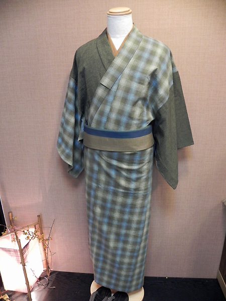 古布紬木綿と先染木綿2色合わせ着物「グラデーションチェック」