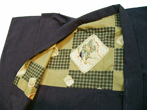 古布紬木綿オーダー羽織(紫/No2504)