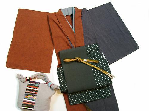 古布紬木綿着物「2色合せ」袷仕立て