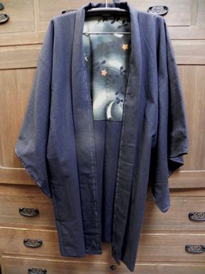古布紬羽織「裏地:古布のぼり兎」