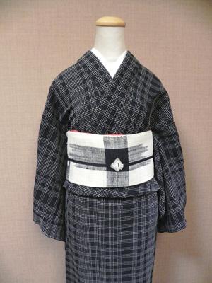 刺し子格子の木綿着物(女性仕立て)イメージ