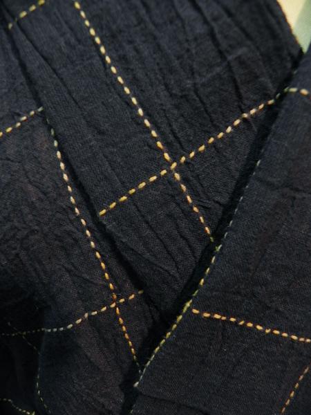 綿麻着物「碁盤格子」