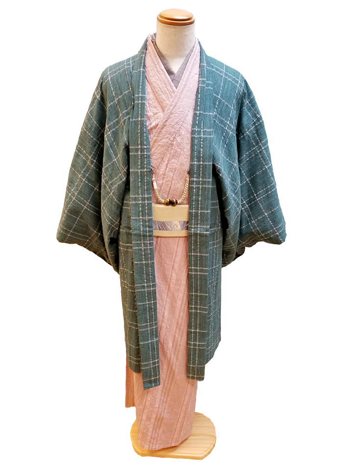 綿麻きもの「矢鱈縞」羽織コーデ(1)