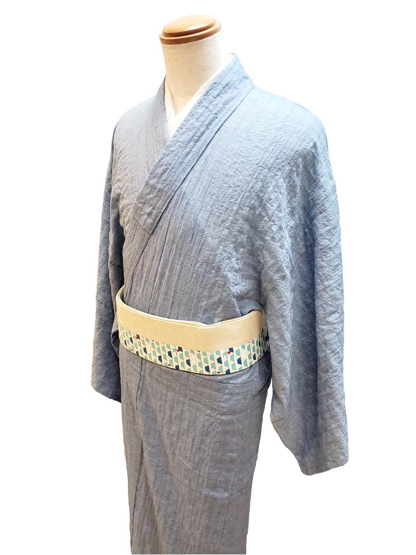 (春夏木綿)綿麻織縞着物