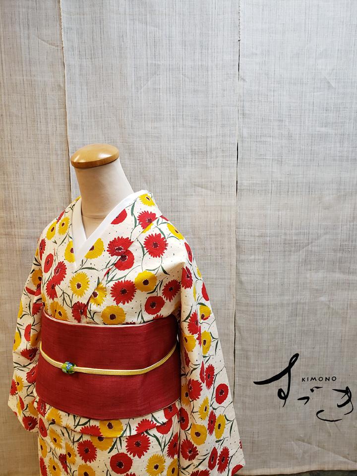 JapanTextile木綿着物「Gerbera」