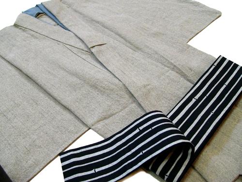 先染木綿「無地織紬」鼠色系