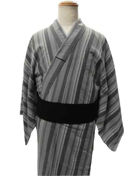 コットンウールの着物「マルチボーダー」