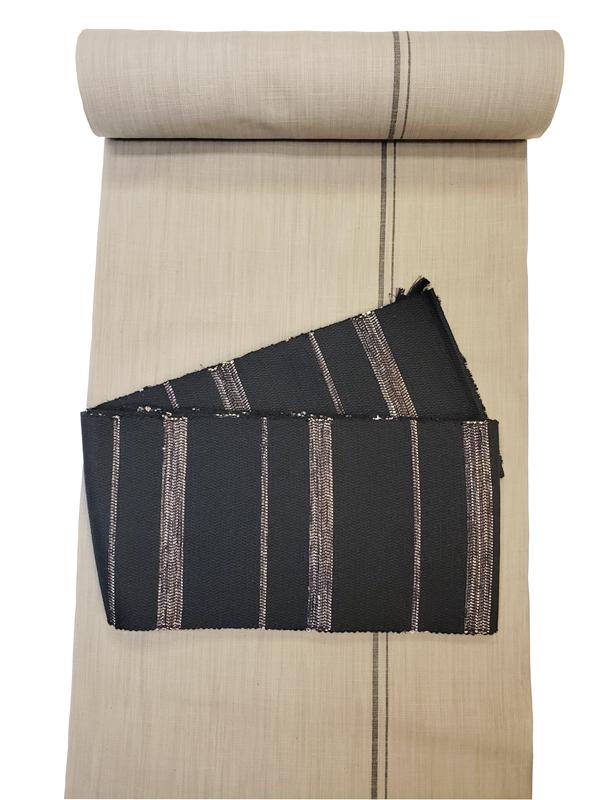 米澤織四寸帯(綿絹織り)