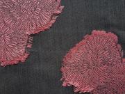 カットジャガード細帯「(牡丹)消炭/退紅(あらべに)」color.50