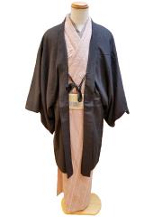 綿麻きもの「矢鱈縞」羽織コーデ(2)
