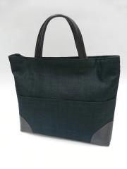 手織り麻革使いスクエアバック(黒)