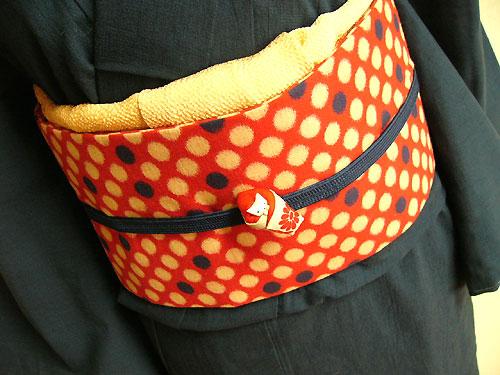 銘仙ビー玉柄の木綿付帯(MOK-BO4115/赤)