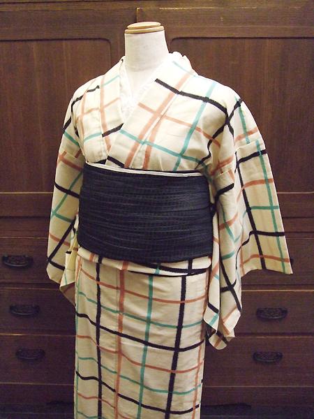 プレタ木綿着物「アンティーク格子/生成色/Mサイズ」