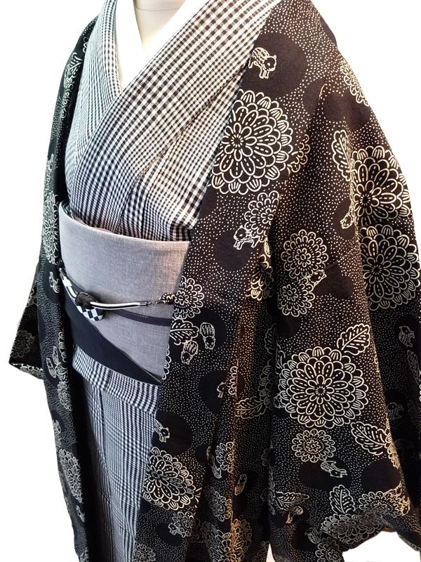 [TAKUMI]木綿羽織(菊にうりんぼ)