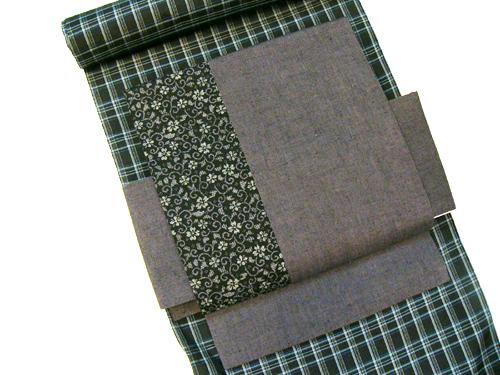 染紬柄「小花唐草&古布紬」木綿付帯