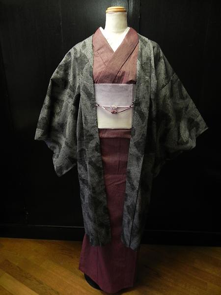 木綿羽織「三勝本型染ペーズリー(黒)」