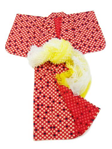ビー玉柄の子供木綿着物(赤)4155