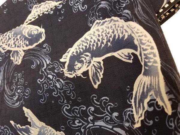 三勝染木綿細帯「両面使い/鯉の滝登り」