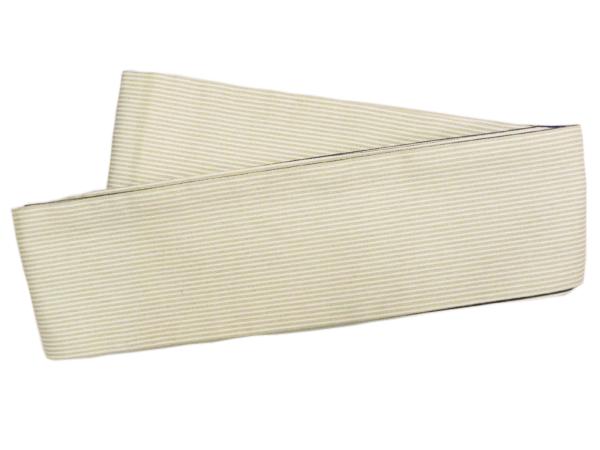 木綿角帯「縞/ひわ色」