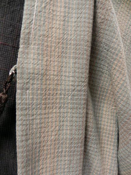 先染織木綿羽織「重ね格子羽織/taupe check」