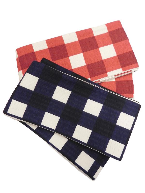 三勝染半巾帯「弁慶格子」
