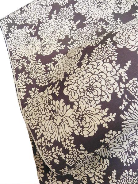 型染木綿京袋帯「菊/葡萄鼠」
